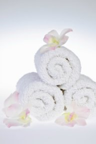Rolled up towels for spa look
