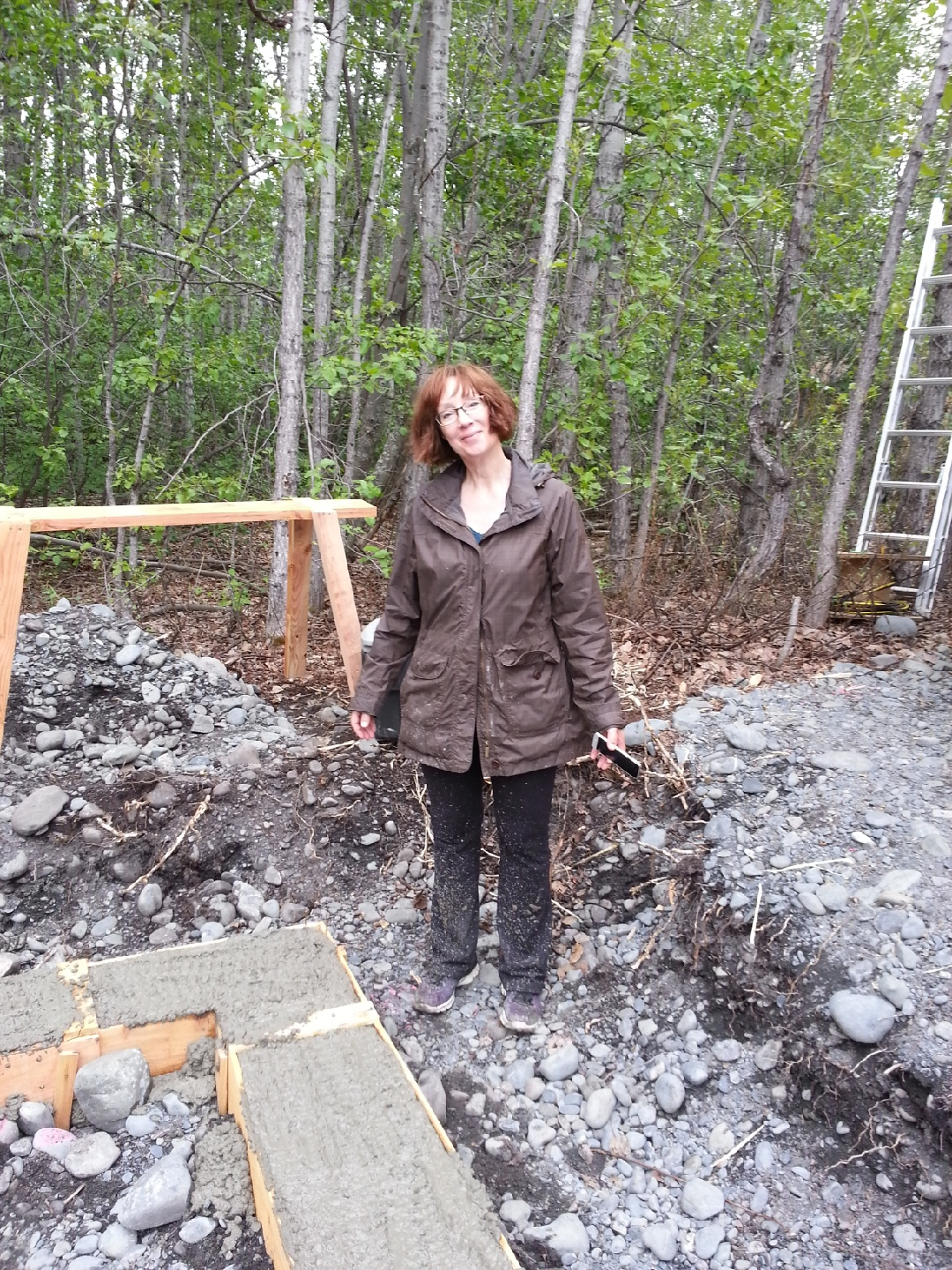 Pouring concrete footings for my Alaska cabin.