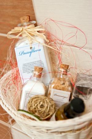 Bath accessories in a basket