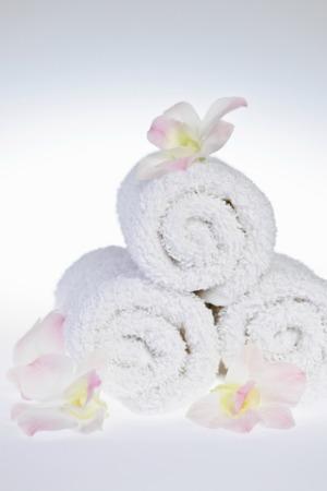 Rolled bathroom towels