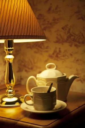 Bedside table tea vignette