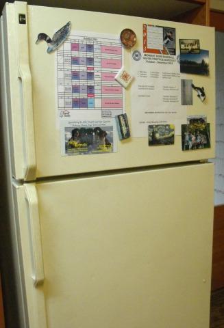 Cluttered fridge