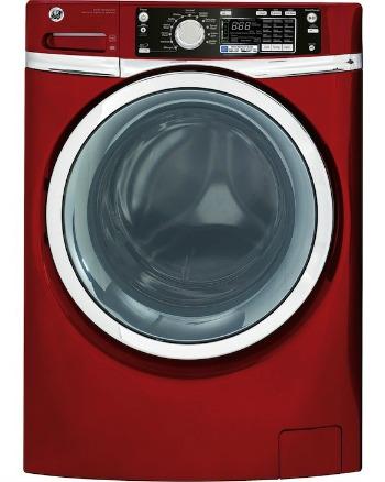 Red front loading washing machine