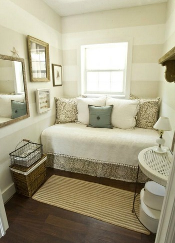 Small bedroom with striped walls