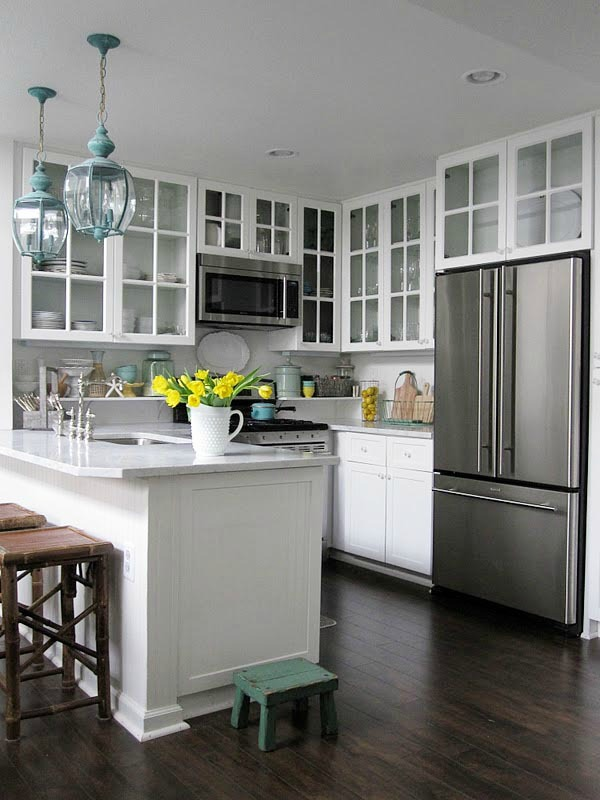 Small Kitchen with glass cabinets