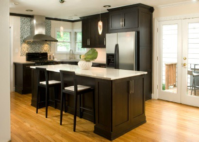 Staged kitchen with island