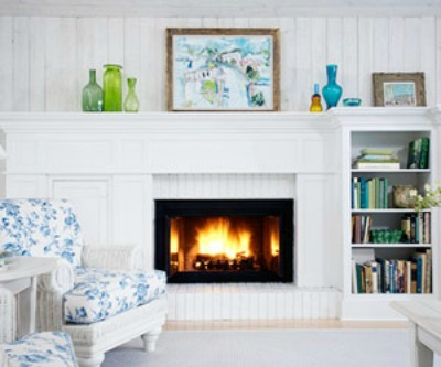 Painted Brick Fireplace Interior Design Pictures