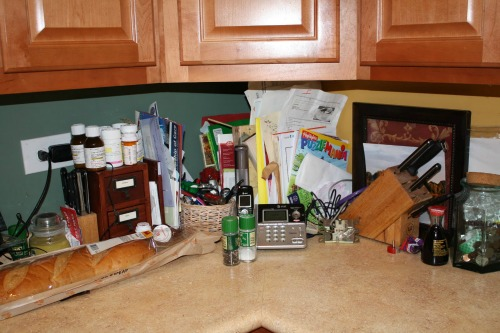 Cluttered kitchen counter