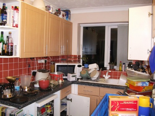 Cluttered kitchen