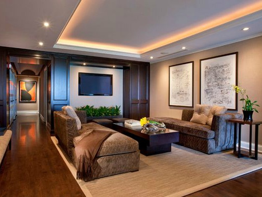 Cove lighting in a living room