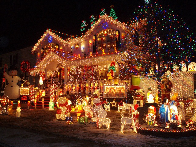 Gaudy outdoor Christmas lights