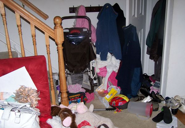 Cluttered entryway