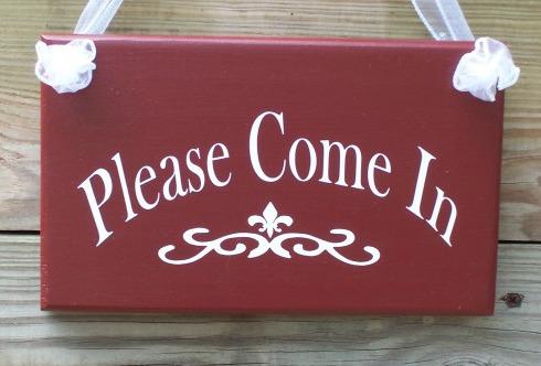 Open house welcome door sign