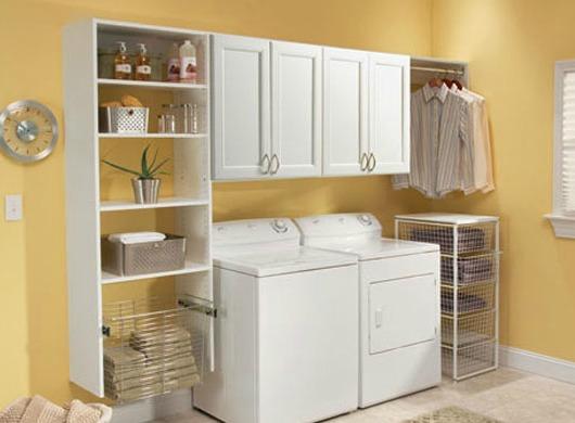 Organized basement laundry area.