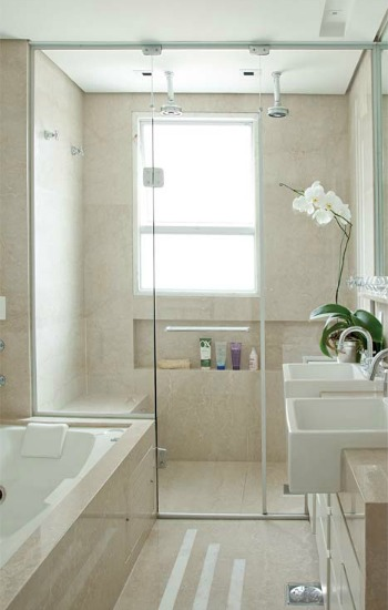 Small Bathroom Design Ideas For Window Treatments. Neutral Colored Bathroom