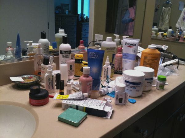 Cluttered bathroom counter