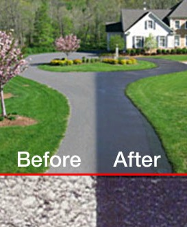 Asphalt driveway- before and after asphalt paint