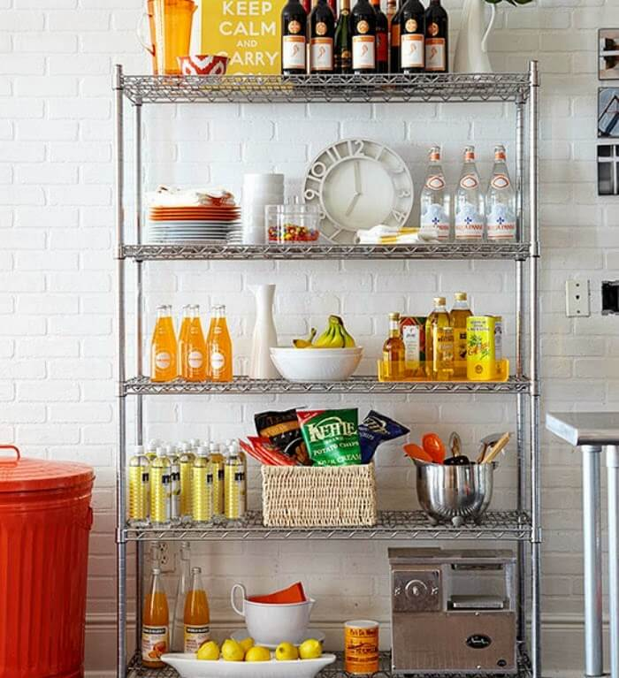 Kitchen Storage shelving.