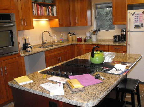 Unfinished and cluttered kitchen