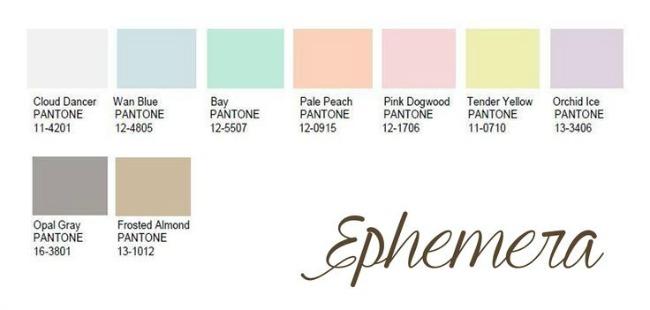 Ephemera Pantone color palette 2016