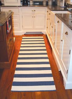 Kitchen with striped runner