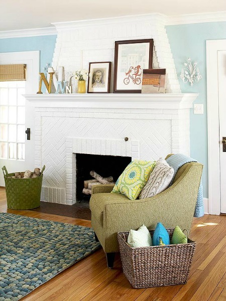 Painted fireplace interior design pictures
