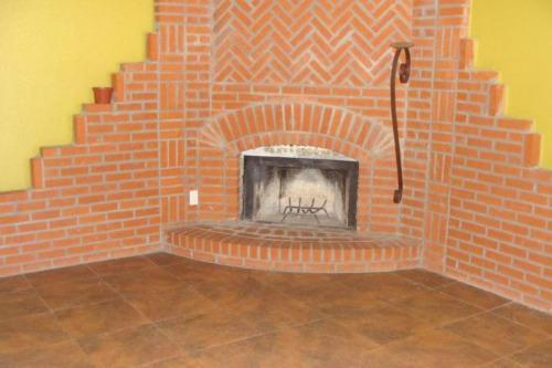 Really ugly brick fireplace