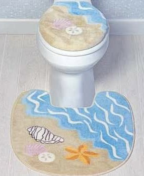 Fluffy toilet seat cover and bathroom mat