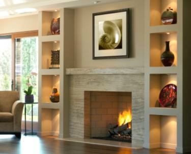 Fireplace and shelves with accessories