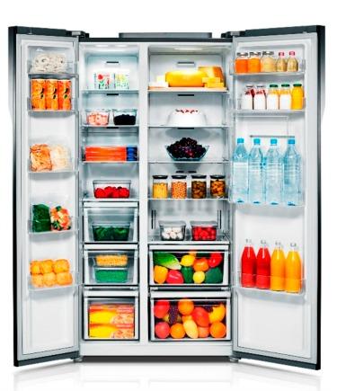 Home staged refrigerator interior.