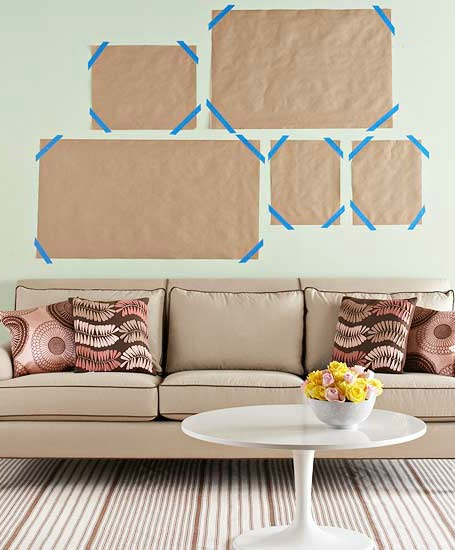 Making a wall grouping with paper