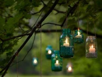 Pretty outdoor mason jar lighting