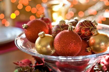 Christmas ornaments in a glass bowl