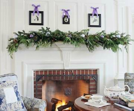 Fireplace mantle Christmas garland
