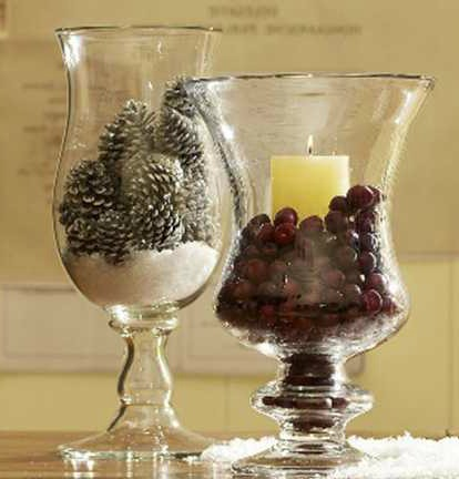 Fill glass canisters with holiday ornaments