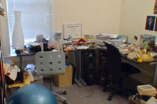 Messy home office