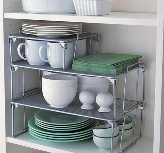 Kitchen cupboard stacking organizer