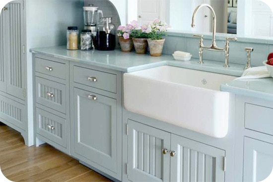 Beautiful farmhouse porcelain kitchen sink.