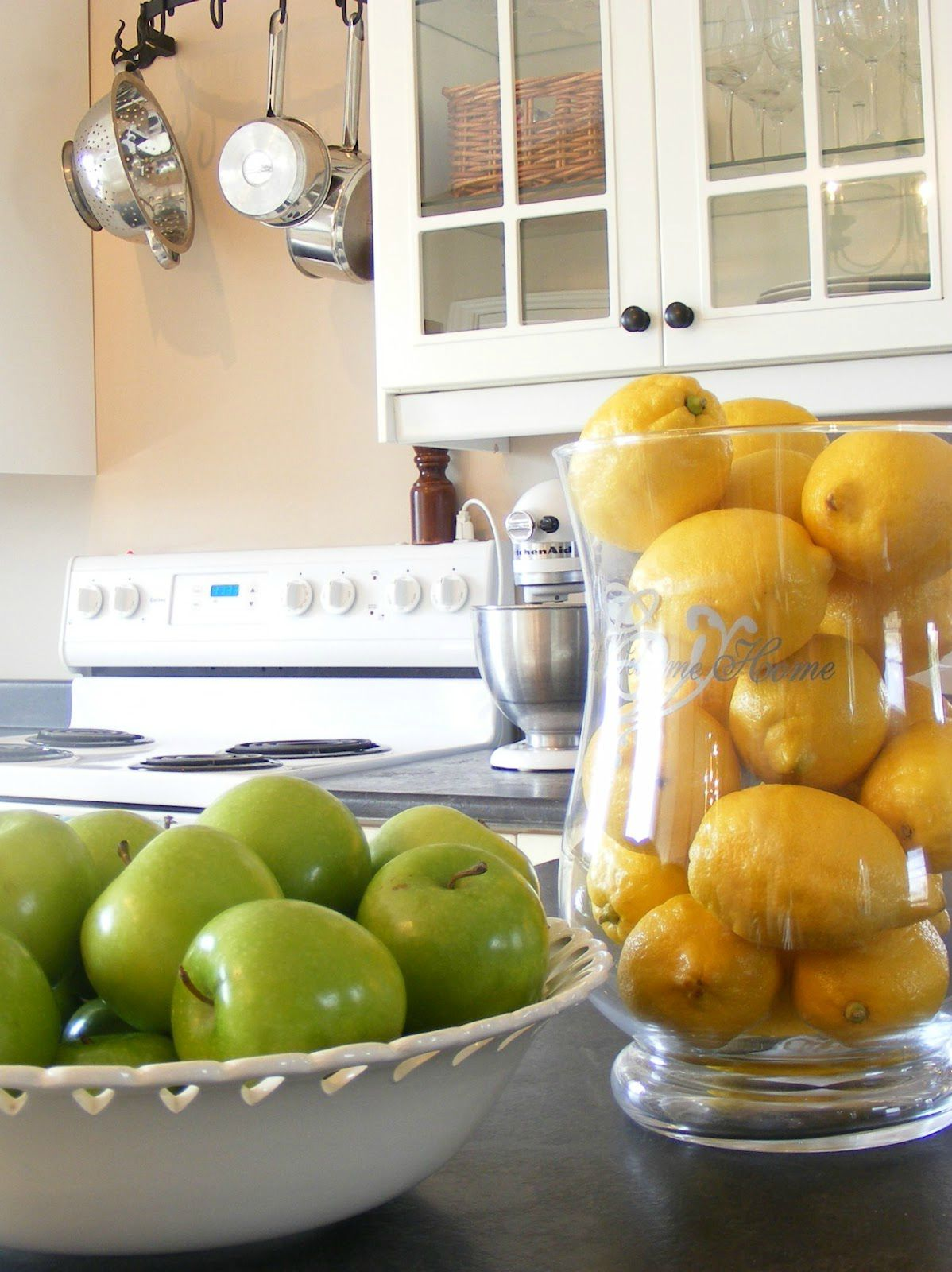Kitchen staged with fruit