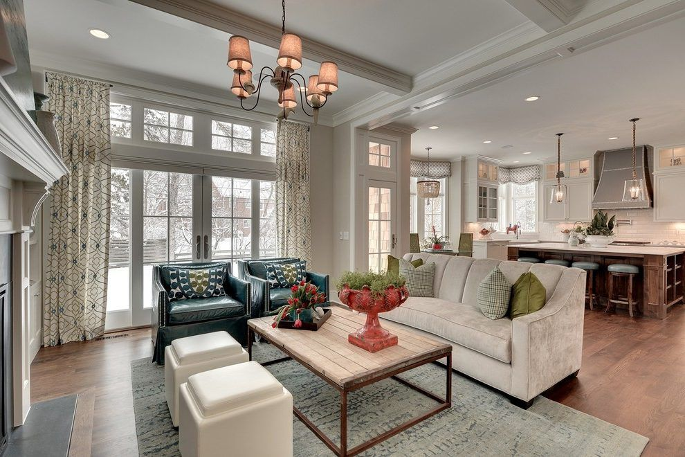 Open concept living room and kitchen. Staging your furniture.