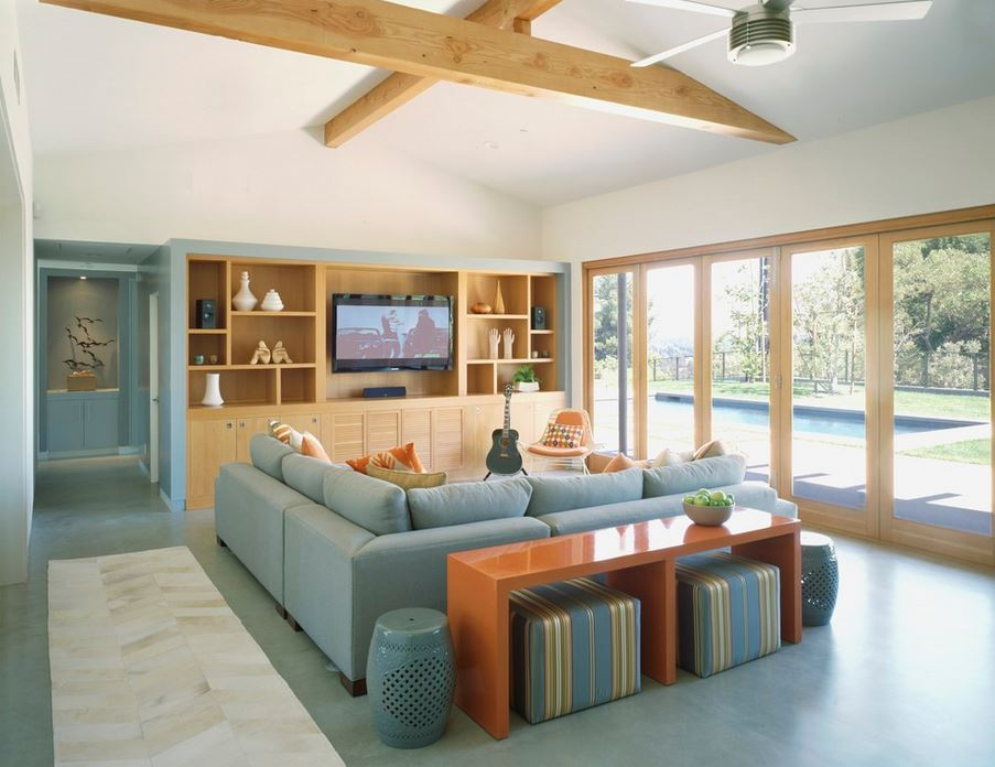 Living room with L-shaped sofa.