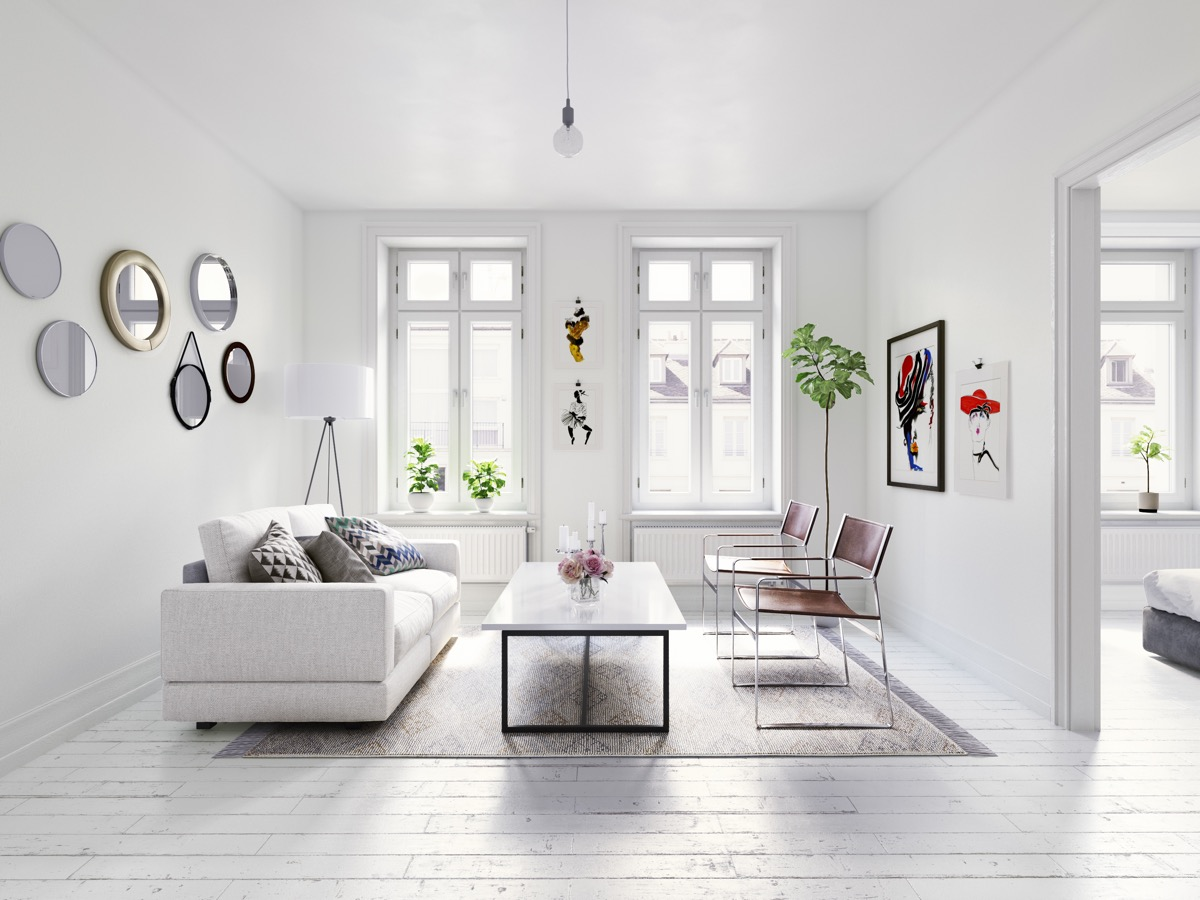 Small white living room. Staging your furniture.