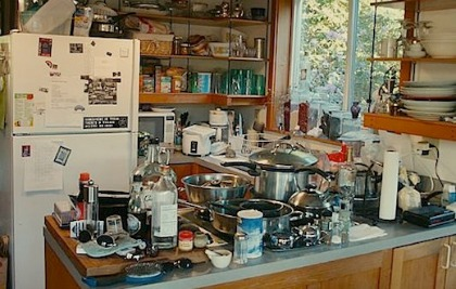Extremely cluttered kitchen