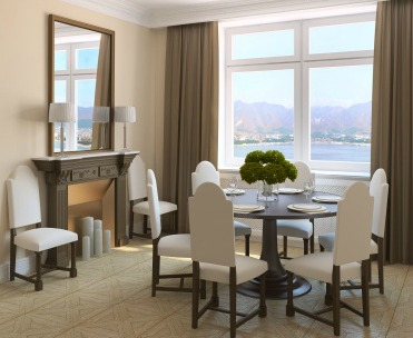 Neutral colored dining room