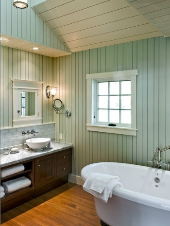 Bathroom Design Interior Pictures Painting Wood Paneling Creates That Cottage Look