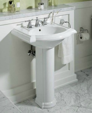 pedestal sink will expose more flooring which will make a small bath