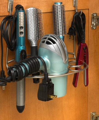 Blowdryer hanger inside bathroom cabinet door