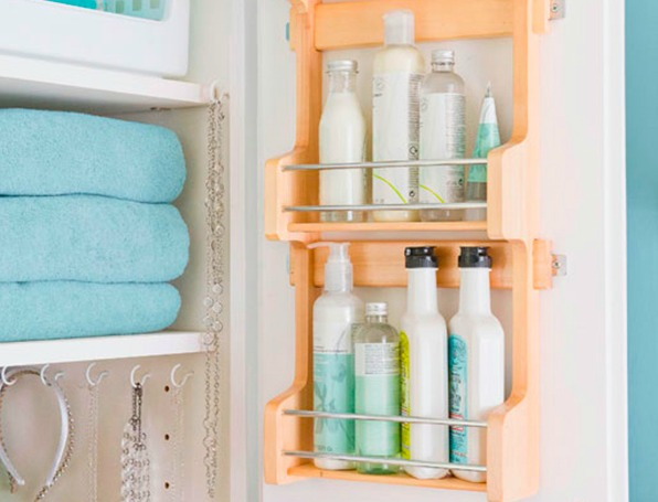 Spice racks used for bathroom storage