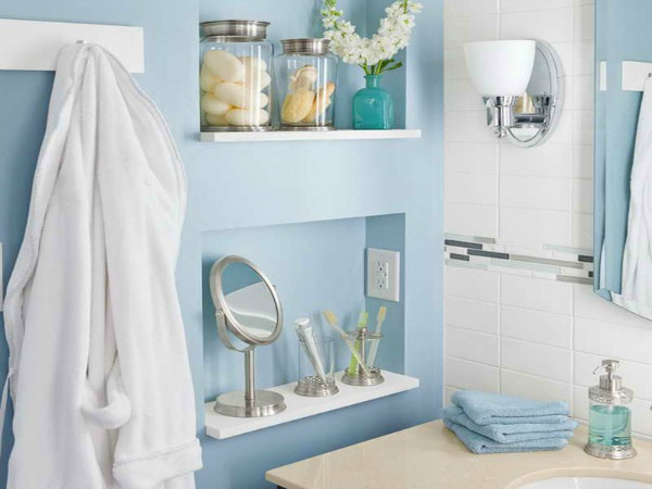 Recessed bathroom shelving