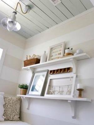 Horizontal stripes can visually elongate a short wall.